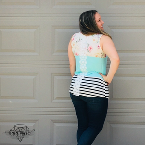Floral Color-Block Tank with Lace Back - KaraMarie Boutique