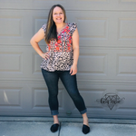 Load image into Gallery viewer, Savanna Jane Leopard Floral Embroidered Top - KaraMarie Boutique