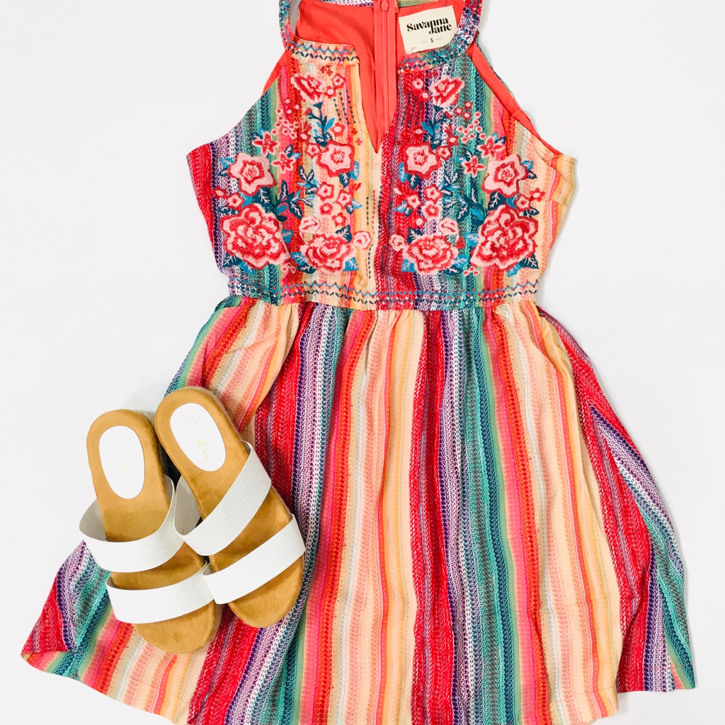 Savanna Jane Take Me to Panama Colorful Embroidered Dress - KaraMarie Boutique