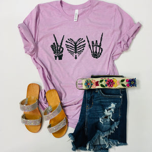 Peace Love Rock and Roll Graphic Tee - KaraMarie Boutique