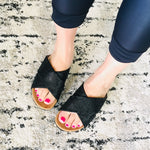 Load image into Gallery viewer, Slide On Sandals - Sparkly Black - KaraMarie Boutique