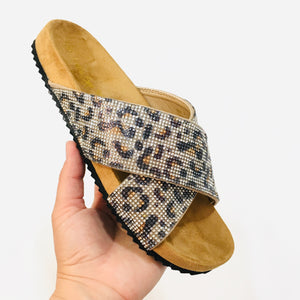 Slide On Sandals - Sparkly Leopard - KaraMarie Boutique