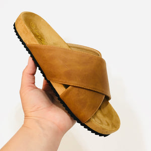 Slide On Sandals - Cognac - KaraMarie Boutique