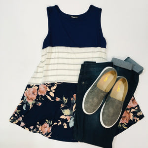 Floral Color Blocked Tank