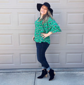 Green Leopard Top