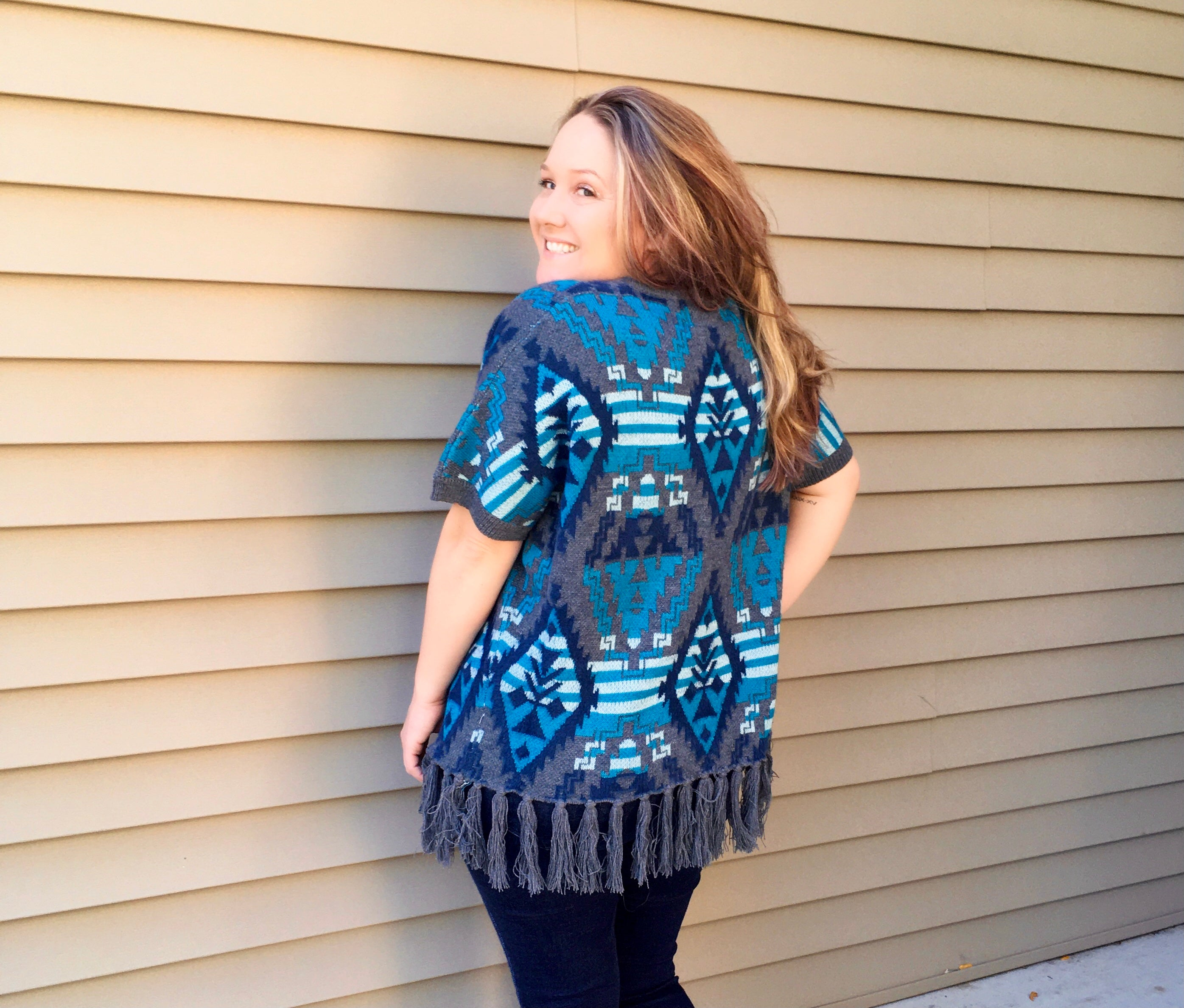 Aztec Dreams Poncho Sweater