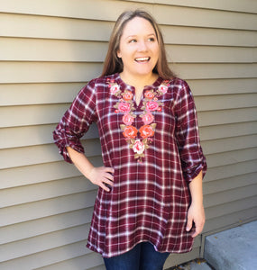 Sweeter Than Roses Plaid Tunic Top