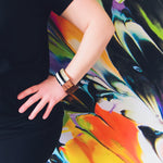 Load image into Gallery viewer, Black + White Wood Bangle - KaraMarie Boutique