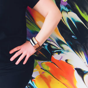 Black + White Wood Bangle - KaraMarie Boutique