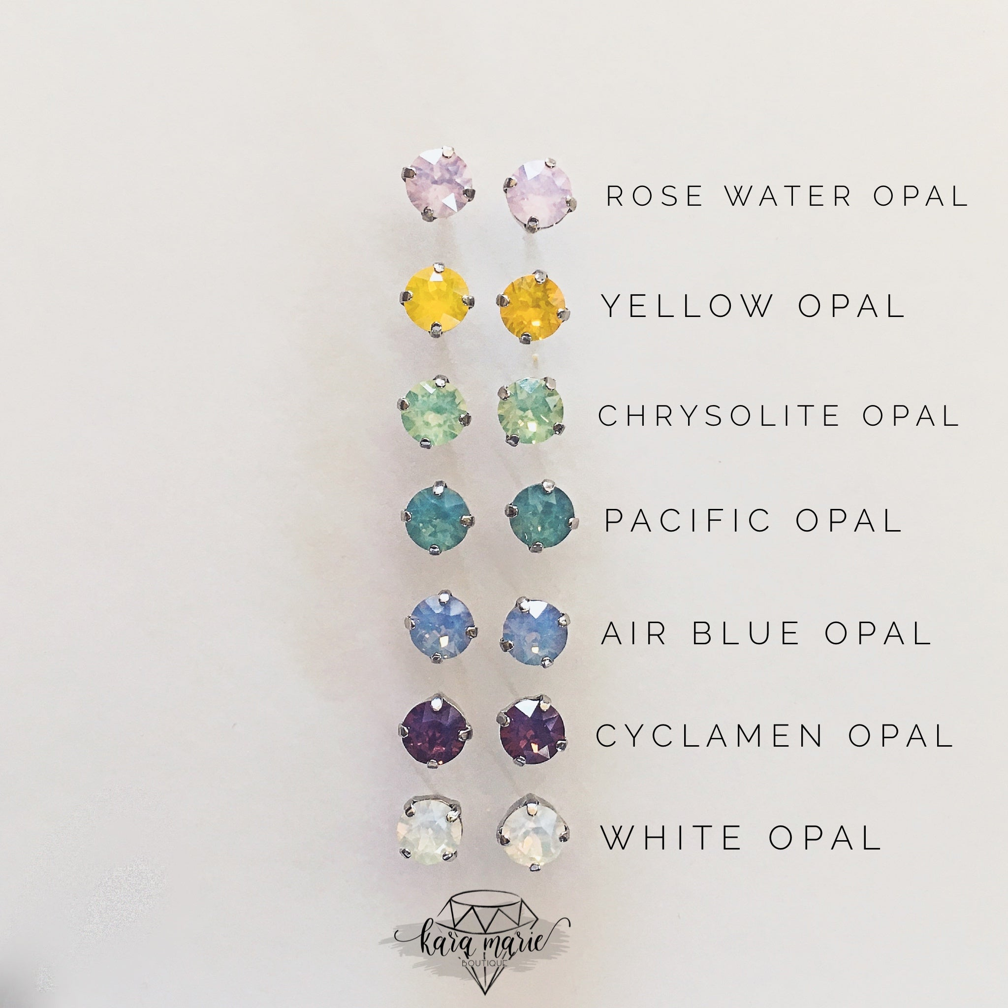 8mm Crystal Post Earring - Multiple Colors! - KaraMarie Boutique
