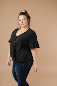 SAMPLE Nice Surprise Surplice Knit Top In Black