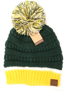 Green Bay Packer Themed Beanie Hat - KaraMarie Boutique