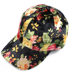 Load image into Gallery viewer, Velvet Flower Print Baseball Cap - KaraMarie Boutique