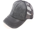 Load image into Gallery viewer, Washed Denim Mesh Back High Pony Baseball Cap - KaraMarie Boutique