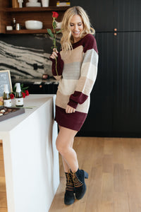Sentimental Striped Tunic Dress in Burgundy