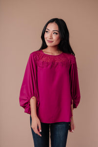 SAMPLE Straight Laced Blouse In Berry