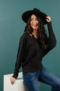 The Lillian Cut-Out Neckline Top in Black