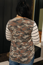 Load image into Gallery viewer, When Camo Meets Stripes Long Sleeve Top