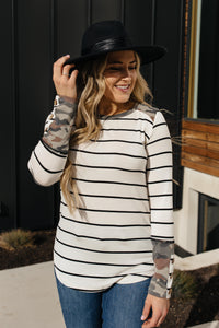 When Camo Meets Stripes Long Sleeve Top