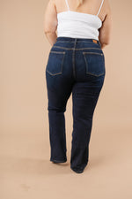 Load image into Gallery viewer, Whiskered Dark Wash Boot Cut Jeans