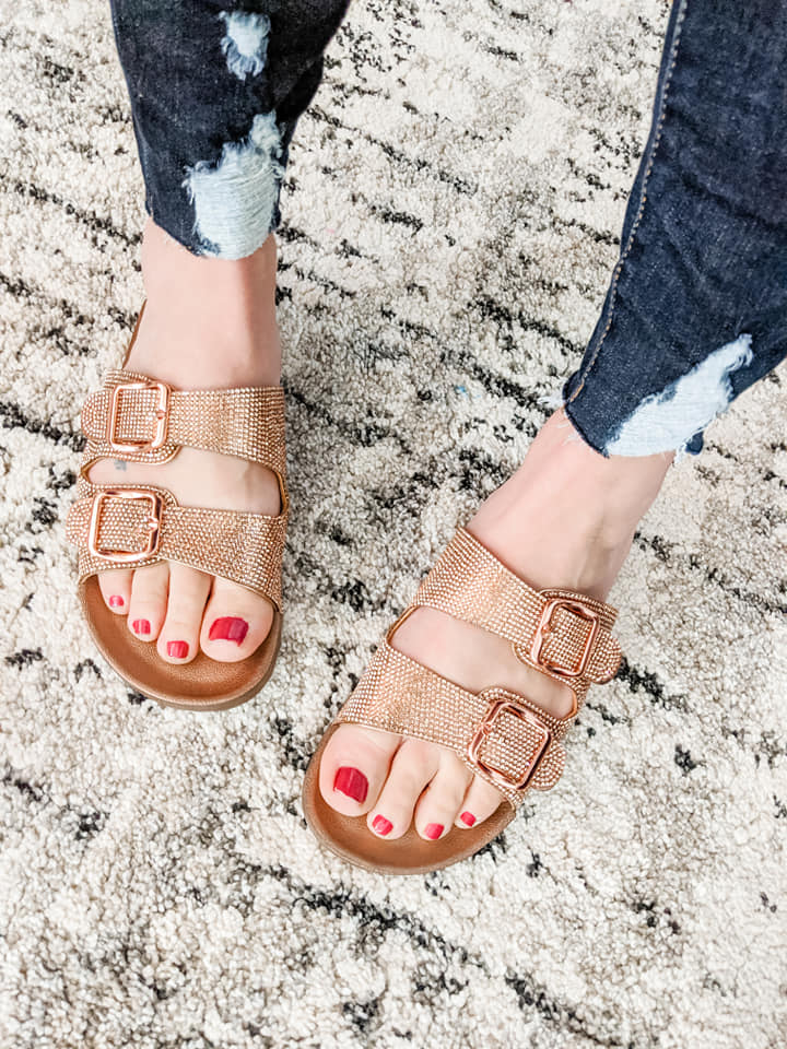 Sparkly Sandals - Rose Gold - KaraMarie Boutique