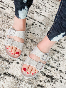 Sparkly Sandals - Silver - KaraMarie Boutique