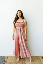 Load image into Gallery viewer, Boho Smocked Jumpsuit In Mauve - KaraMarie Boutique