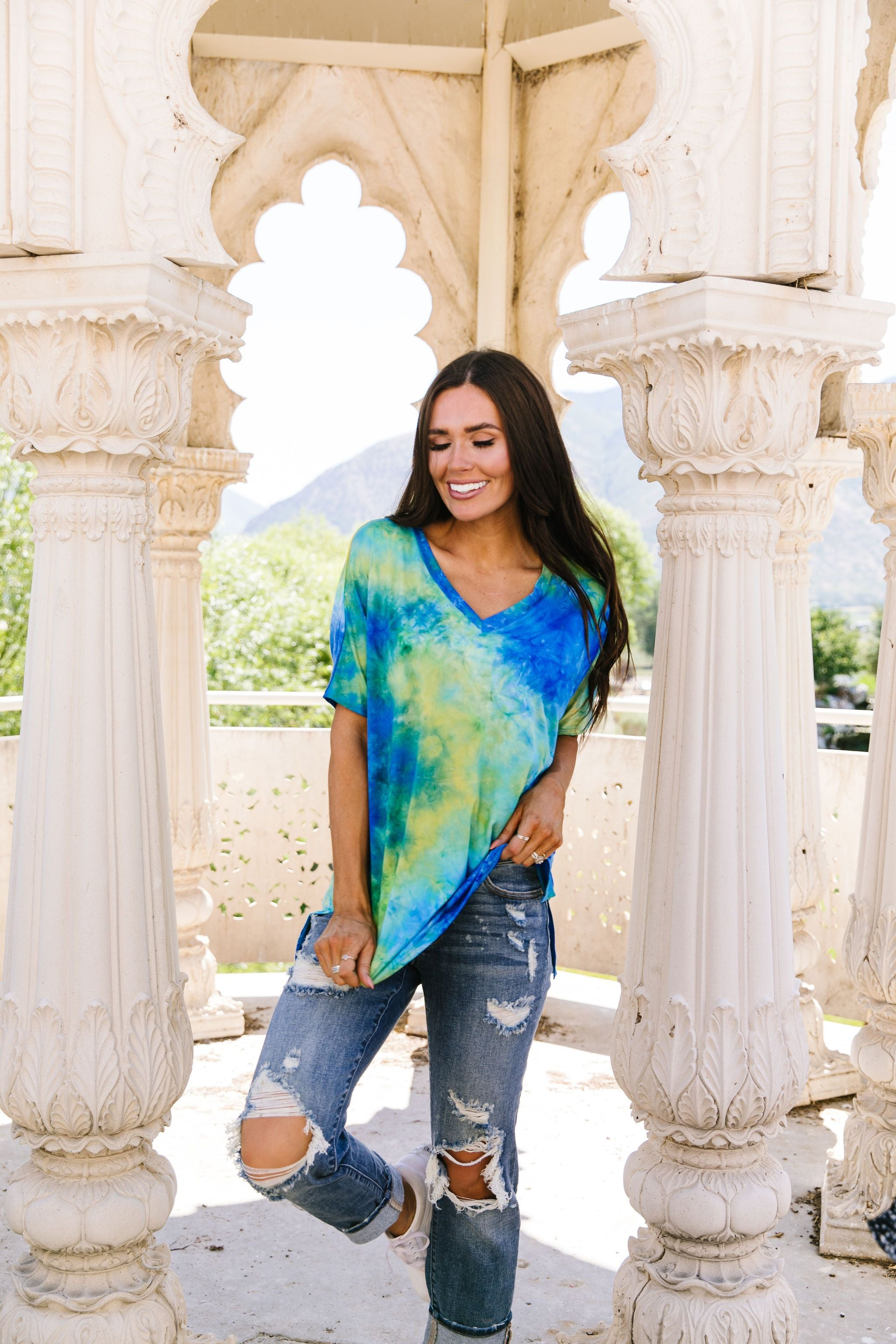 Clouds of Yellow & Blue Tie Dye Top - KaraMarie Boutique