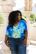 Load image into Gallery viewer, Clouds of Yellow & Blue Tie Dye Top - KaraMarie Boutique