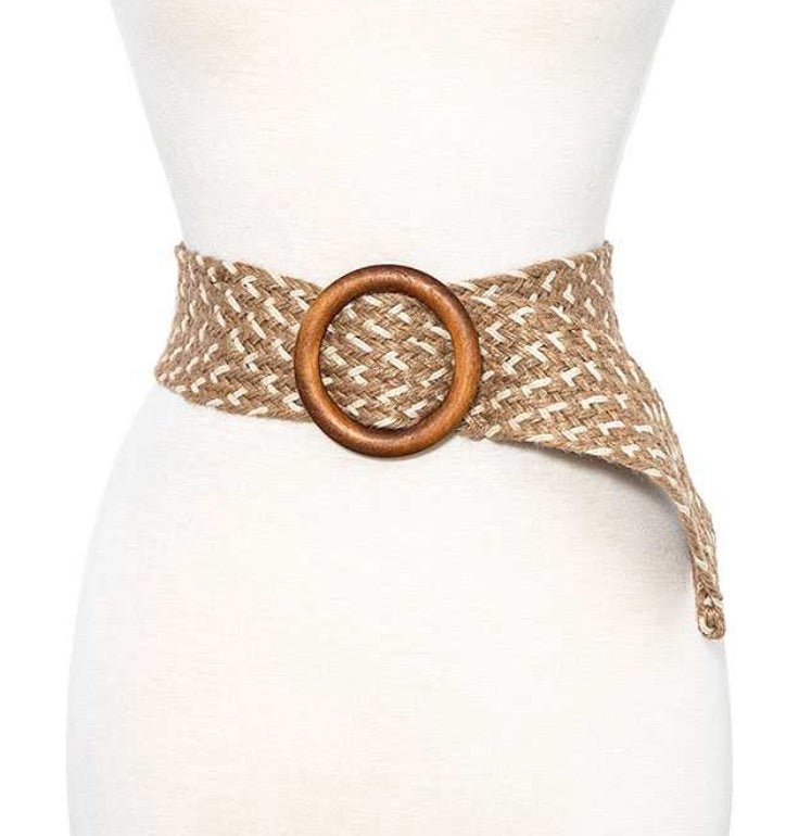 Round Wooden Buckle Waist Straw Belt - KaraMarie Boutique