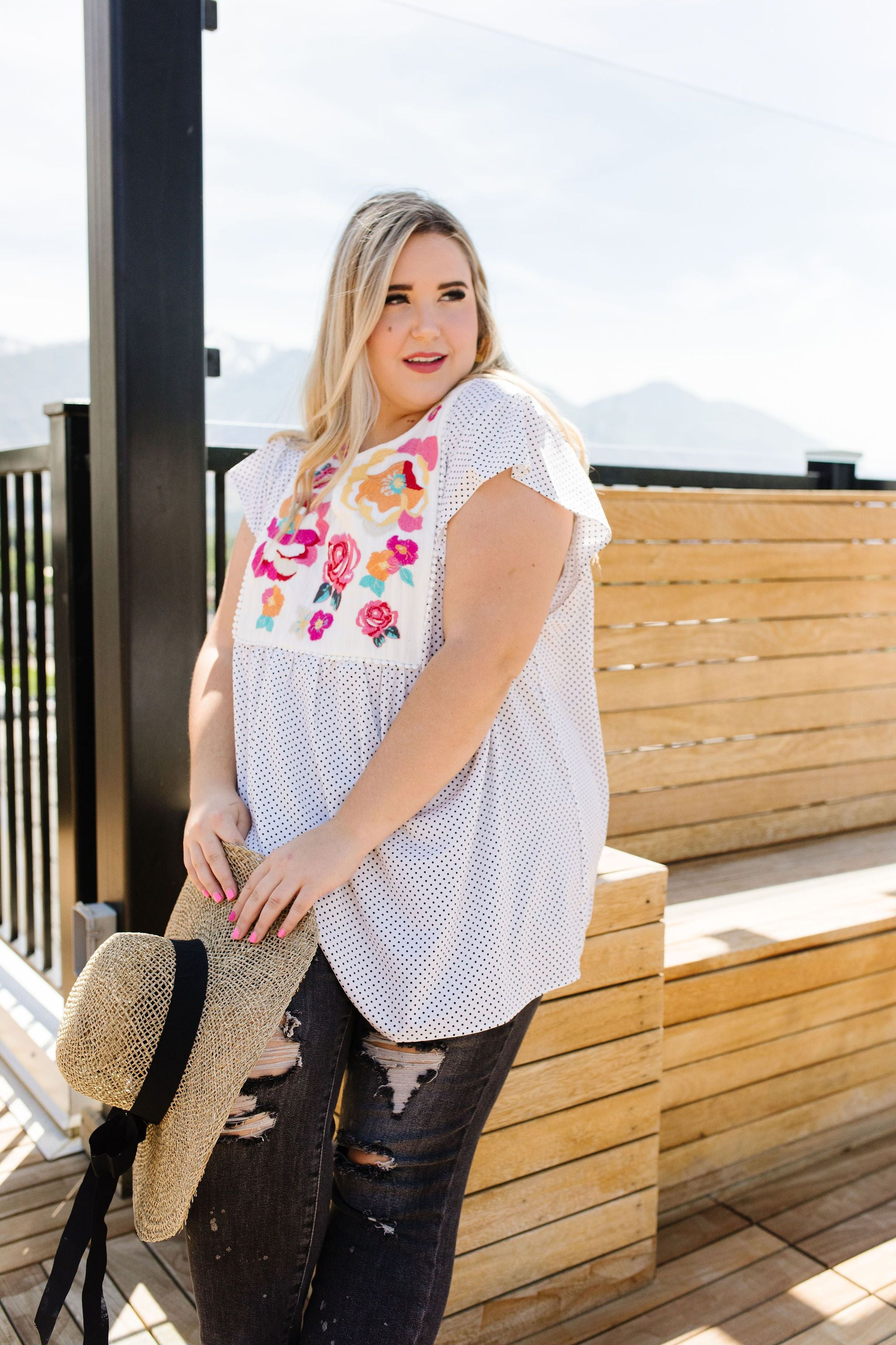 Flowers & Dots Embroidered Blouse - KaraMarie Boutique