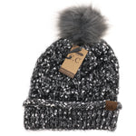 Load image into Gallery viewer, Fuzzy Lined Popcorn Knit Fur Pom CC Beanie