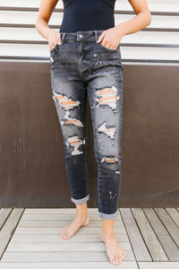 In The Past Dark Gray Boyfriend Jeans - KaraMarie Boutique