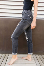Load image into Gallery viewer, In The Past Dark Gray Boyfriend Jeans - KaraMarie Boutique