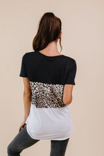 Load image into Gallery viewer, Leopard In The Middle Color Block Top In Black & White