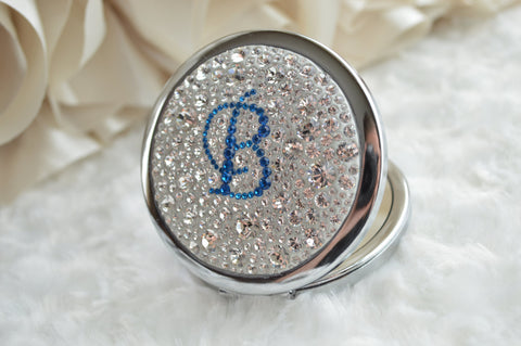 Double Mirror Compact w/ Single Letter Monogram