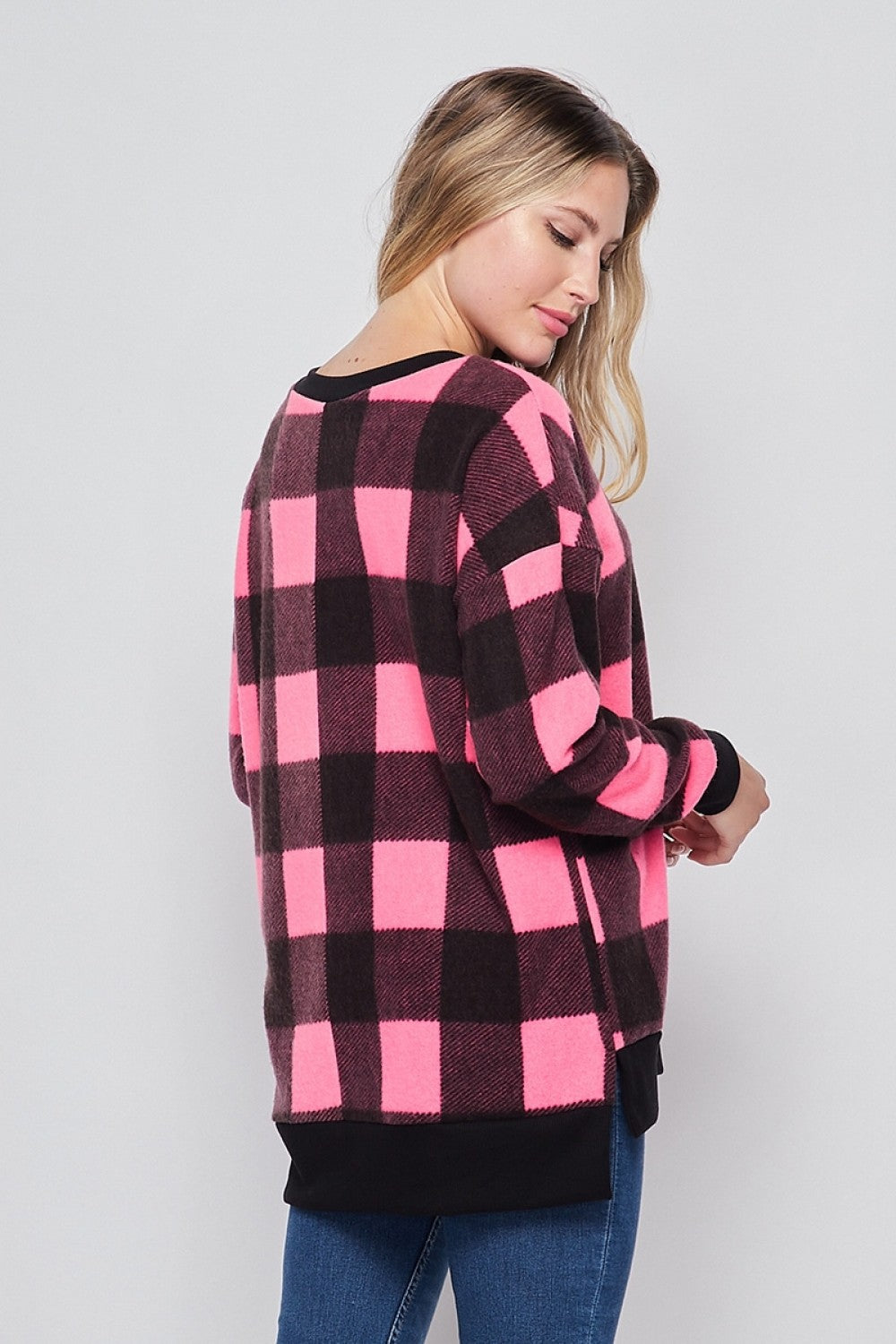 Color Me Pretty In Plaid Long Sleeve Top