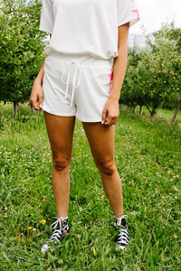 Three Star Shorts In Ivory - KaraMarie Boutique