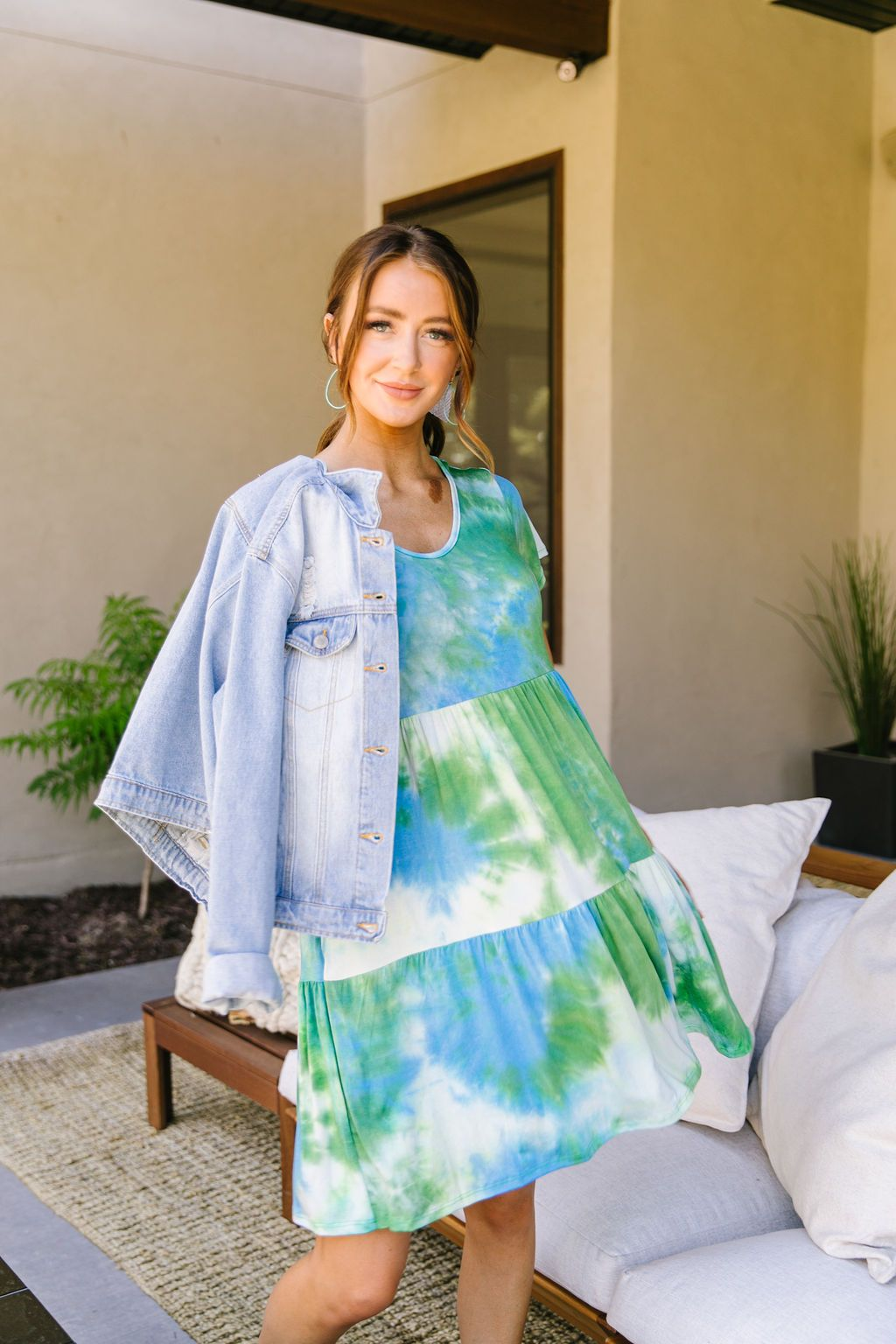 Tiered Tie Dye Dress In Turquoise & Green - KaraMarie Boutique