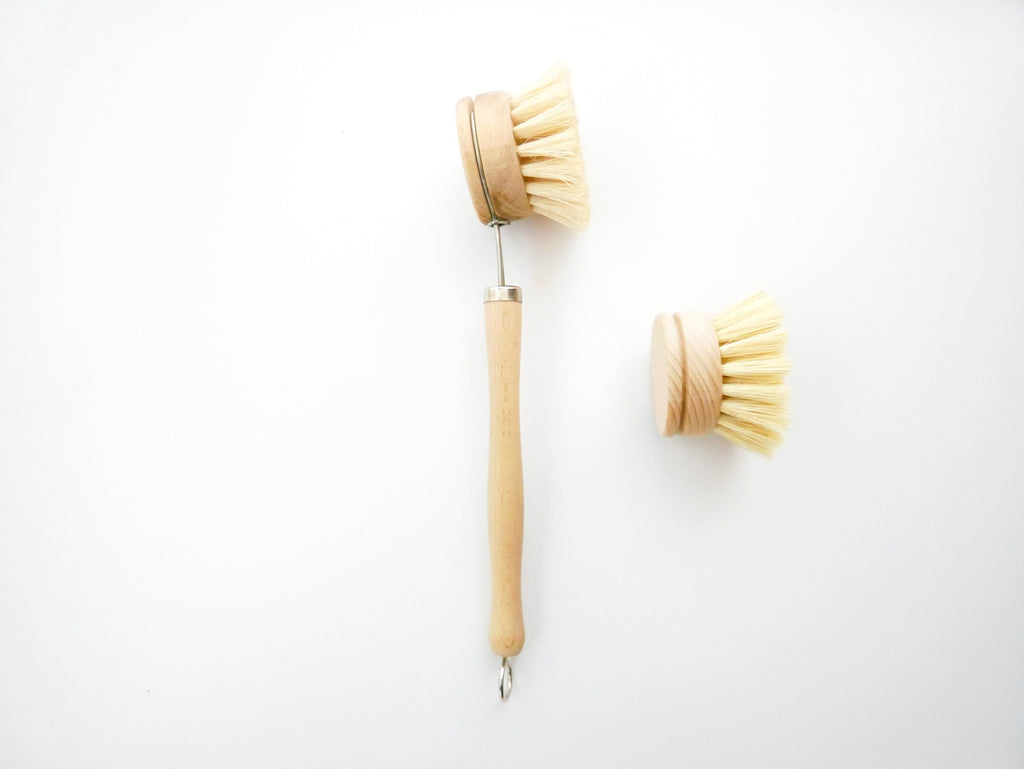 Wood Scrubbing Brush and Replacement Head with Plant-Based Bristles