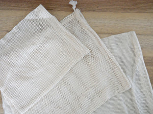 Organic Cotton Drawstring Bag - 3 Piece Set (S, M, L)