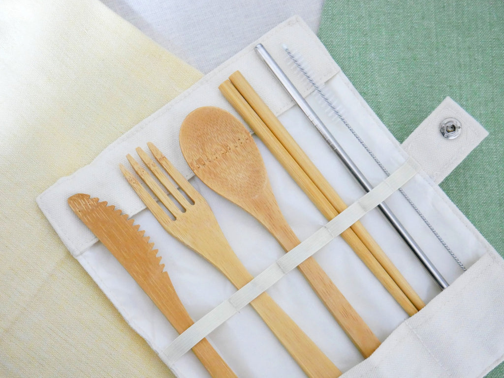 Bamboo Cutlery + Stainless Steel Straw Set & Cotton Rollout Case