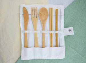 Bamboo Cutlery/Straw Set & Cotton Rollout Case