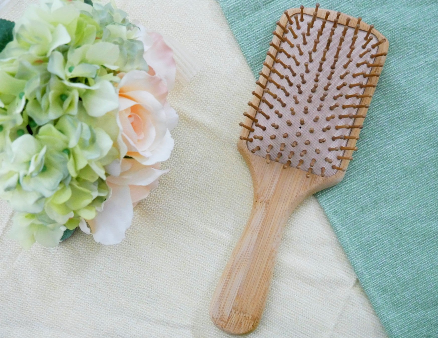 Wood Hairbrush with Bamboo Pins (Rectangular)