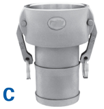 Female Coupler to Male Hose Shank - Cam & Groove Type C Camlock Fittings