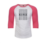 Glitter Nurse Stacked Letter 3/4 Raglan T-Shirt
