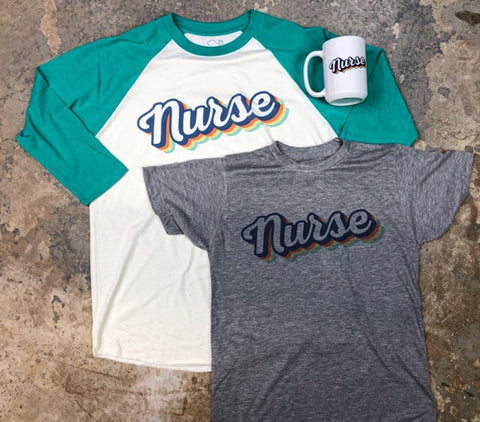 Ultimate Retro Nurse Tshirt + Raglan Shirt + Coffee Mug + Free Shipping Bundle
