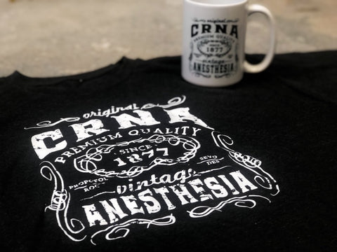 Vintage CRNA Tshirt + Coffee Mug Bundle