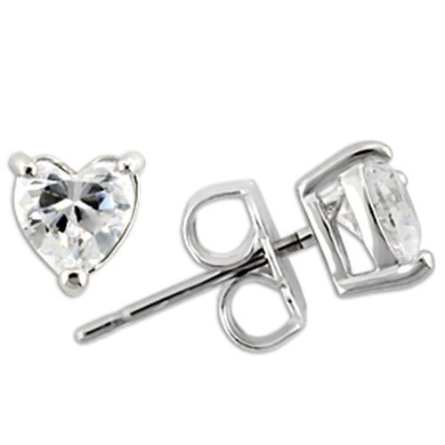 Rhodium Heart 925 Sterling Silver Earrings