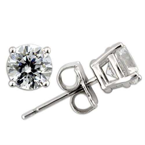Rhodium Round 925 Sterling Silver Earrings